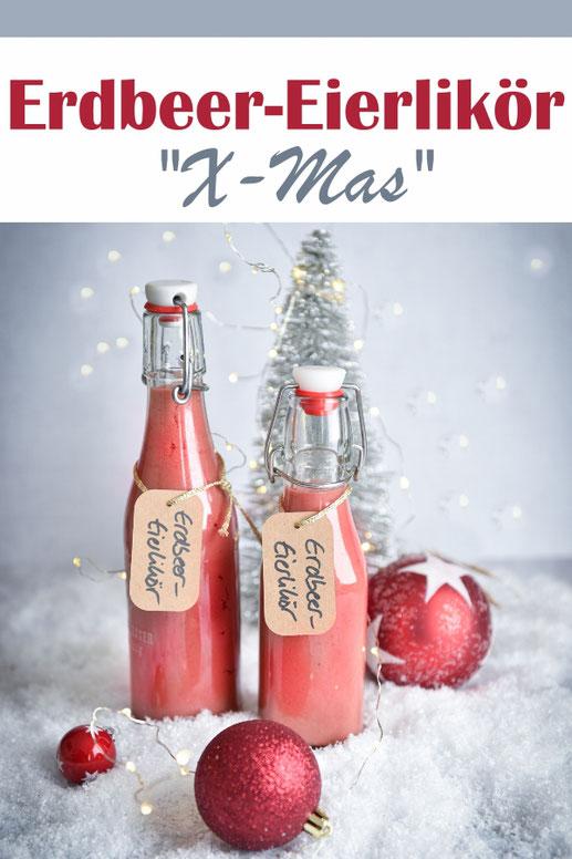 Fantastischer Eierlikör mit Erdbeer- und Lebkuchengeschmack zur Weihnachtszeit, schmeckt auch Leuten, die eigentlich keinen Eierlikör mögen, yummy, vegan möglich, Thermomix, Geschenke aus der Küche, Weihnachtsgeschenke