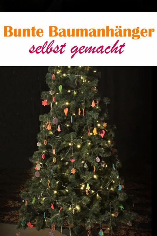 bunte Baumanhänger selbst gemacht, Weihnachtsschmuck aus Salzteig, tolle Bastelaktion mit Kindern, Thermomix, vegan