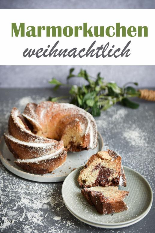 Weihnachtlicher Marmorkuchen, einfaches Rezept, vegan möglich oder klassisch mit Eiern, Thermomix
