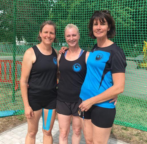 Das erfolgreiche Trio am 20.07.2019 in Erfurt (Team-DM 3. Platz)! V. l. n. r.: Bettina Schardt - Natascha Wolf - Kristina Telge!