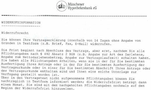 Münchener Hypothekenbank Ag fehlerhafte Widerrufsbelehrung Widerruf - Rechtsanwalt Sven Nelke