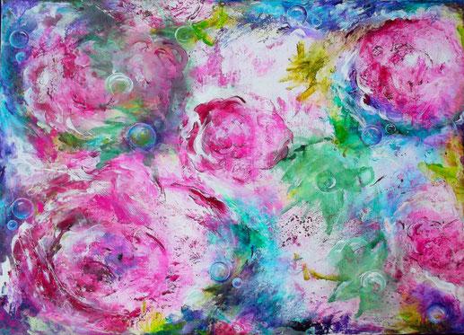 Blütentraum - Öl / Acryl auf Leinwand - 60 x 80 (silber gerahmt)