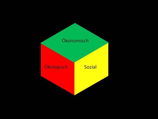Nachhaltigkeits-Würfel: Nachhaltigkeit von Geldanlagen auf einen Blick - in drei Dimensionen und auf der Qualitätsstufen (hier: ökonomische Nachhaltigkeit: empfehlenswert, ökologische Nachhaltigkeit: abzulehnen, soziale Nachhaltigkeit: bedenklich)