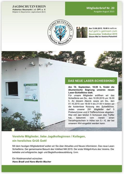 Jagdschutzverein Hubertus Neumarkt e. V. Mitgliederbrief Nr. 20