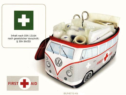 VW Bulli Verbandtasche mit Erte-Hilfe Set, Verbandskasten