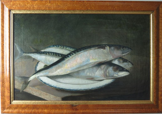 Folk art oil painting of mackerel on a plate