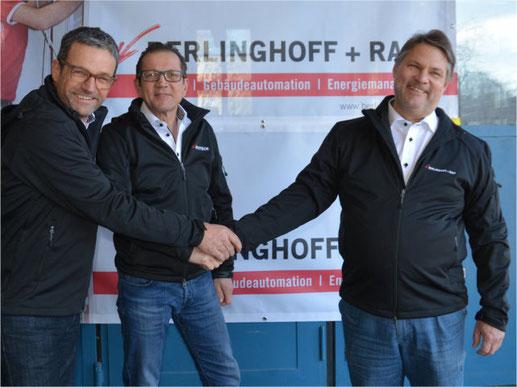Ein geglückter Schulterschluss: der ehemalige Inhaber und Geschäftsleiter von Berlinghoff + Rast AG, Max Meili (rechts) mit dem neuen Geschäftsleiter Stefan Preisig (links) und Andreas Bühler von der Hustech-Gruppe. Bild: zvg