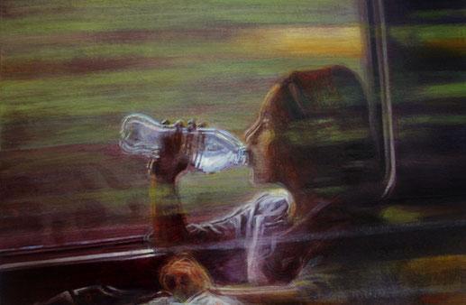 reflet dans la vitre du TGV - détail - 2013 - M.Pavlïn