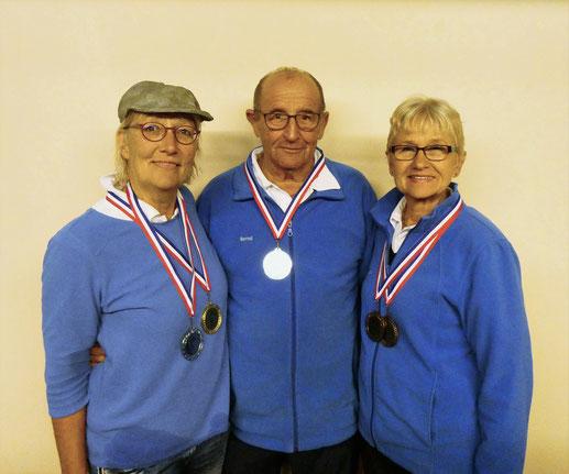Siegerin und Platzierte - Vereinsmeisterschaft Tête-á-Tête 2019