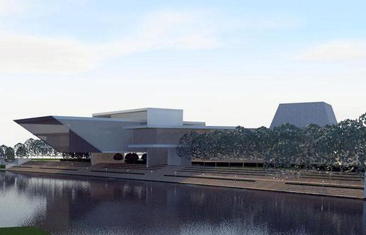 Einen Theaterbau teils über der Donau stellen sich Architekt Peter Bachschuster und Bürgermeister Sepp Mißlbeck vor. | Foto: Entwurf Büro Bachschuster