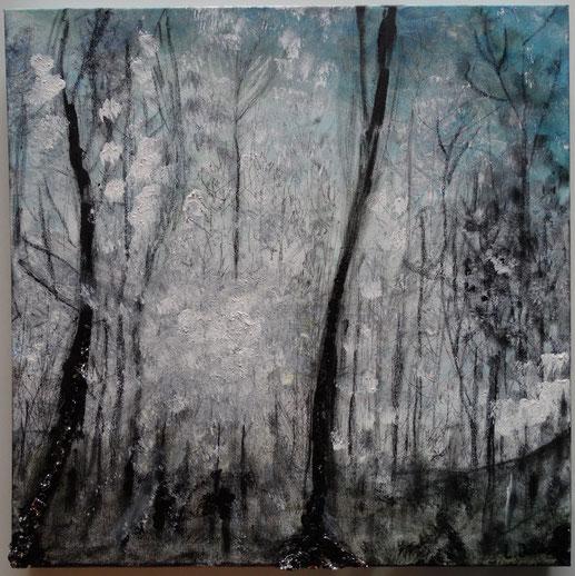 Forest blue 50x50 Gemengde techniek op doek. 2015.