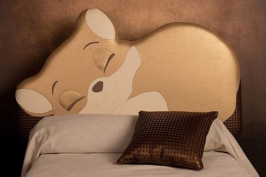 rêves en tête-tête de lit originale artisanale chambre enfant- chat
