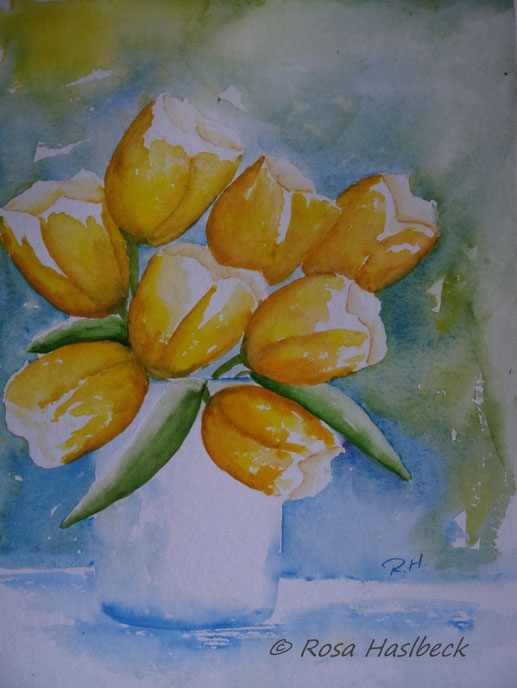 aquarell, tulpen, tulpenaquarell, tulpenbild, bild, handgemalt, gelb, kunst, bild, wanddekoration, kunst verkaufen, verkaufen