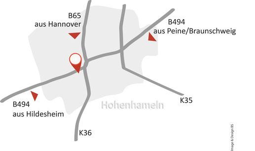 Bild: Anfahrtsskizze Praxis Kerstin Stephan, Homöopathie, Dorn-Breuss, Hannover, Hildesheim, Peine, Hohenhameln