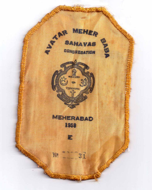 Cloth Arm badge for the 1958 Meherabad Sahavas. ( elastic sewn to badge-reverse side )