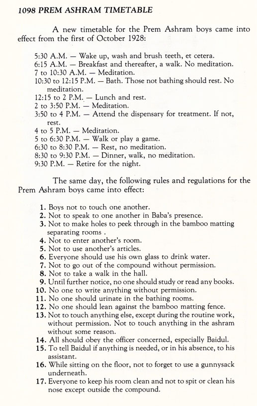 1928 : Toka Prem Ashram timetable. Courtesy of LM p. 1098