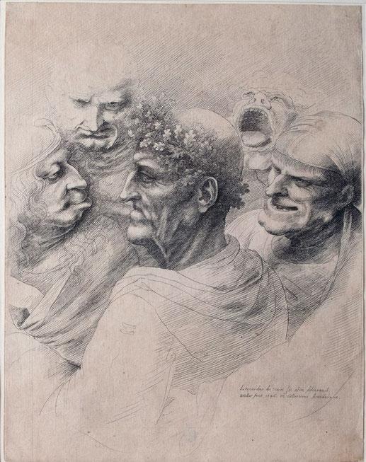 "Leonardo da Vinci, ""Cinque teste"" (1494)."