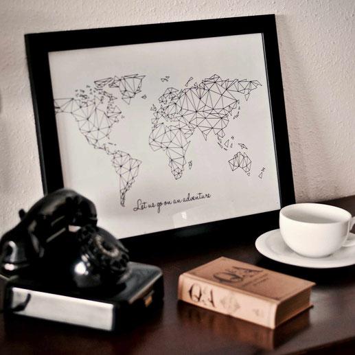 Weltkarte   Worldmap   Wandbild   Poster
