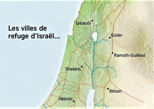 En Israël, 6 villes refuge pouvaient accueillir les auteurs d'homicides involontaires, 3 villes à l'Est du Jourdain (Betser, Ramoth en Galaad et Golan en Basan) et 3 villes à l'Ouest du Jourdain (Kédesh, Sichem et Kirjath-Arba ou Hébron).