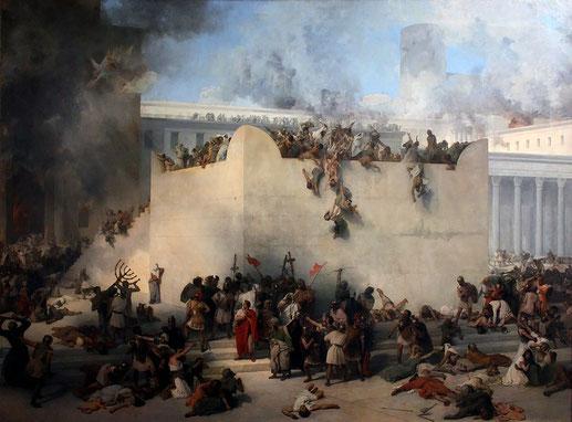 En 70 ap J-C, le Temple d'Hérode, magnifique et resplendissant, est totalement détruit par les armées romaines de Titus le 9 Av dans le calendrier hébraïque. Pour la deuxième fois de l'histoire des Hébreux, le Temple de Jérusalem est totalement détruit.