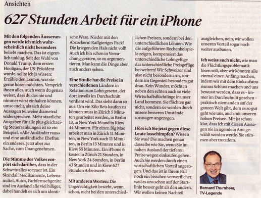 Beni Thurnheer in der Thurgauer Zeitung zum Thema