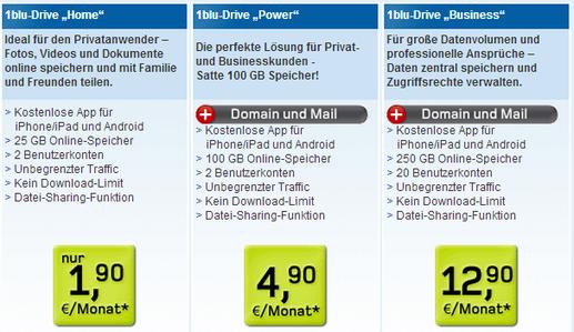1blu Onlinespeicher Preise und Pakete