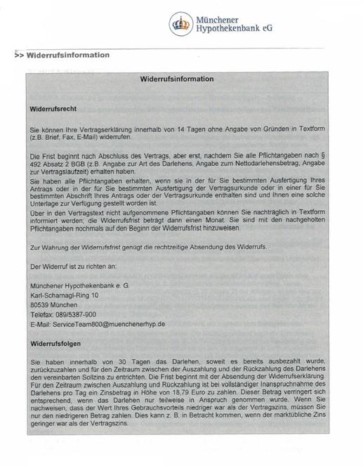 Münchener Hypothekenbank eG (Raiffeisen Volksbanken) Finanzierung Kredit Darlehen wegen fehlerhafter Widerrufsbelehrung widerrufen - Rechtsanwalt Sven Nelke