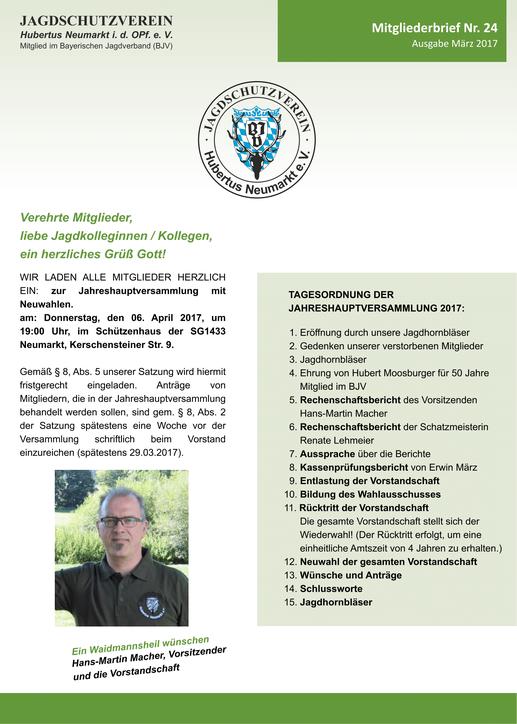 Jagdschutzverein Hubertus Neumarkt e. V. Mitgliederbrief Nr. 21