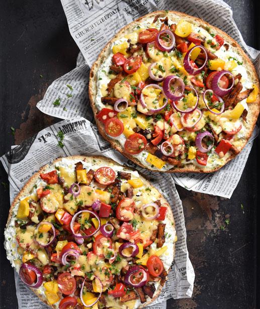 Gyros Fladenbrotpizza, deftig, lecker, vegetarisch, vegan machbar, Thermomix