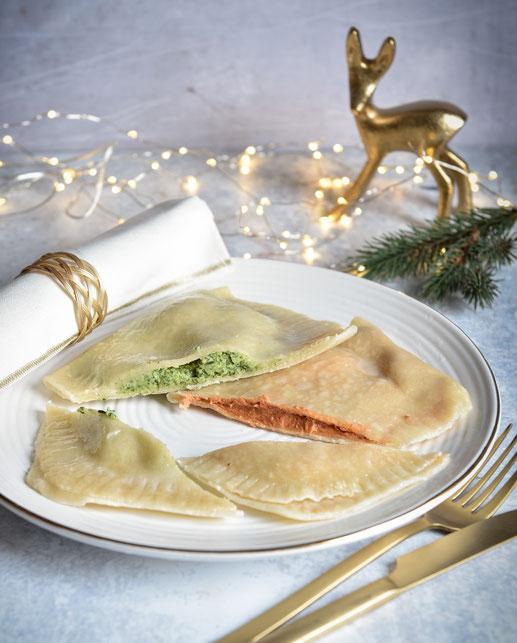 XXL Ravioli mit Spinat- und Tomatenfüllung, vegetarische Weihnachten, vegan möglich, Thermomix, Vorspeise