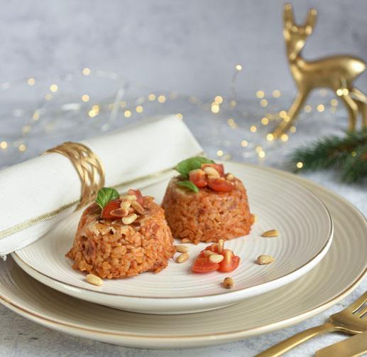 Risotto Pasteten mit Tomaten und Pinienkernen, vegetarische Weihnachten, weihnachtliche Vorspeise, Thermomix