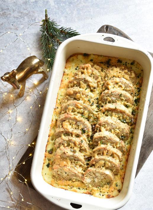Serviettenknödel-Auflauf mit Lauchgemüse, vegetarische Weihnachten, vegan möglich, Thermomix