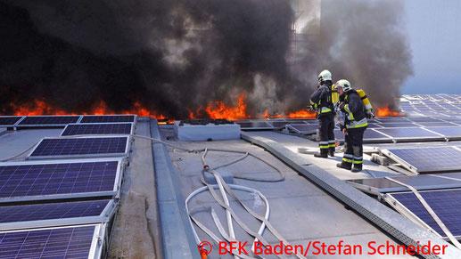Feuerwehr, Blaulicht, BFKDO Baden, Brand, Traiskirchen, Photovoltaikanlage, ehemaliges Semperit-Werk, Gewerbepark
