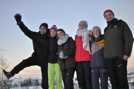 Die Praktikanten aus Uppsala in Lappland (v.l.: Max, Verena, Clarita, Sonja, Hannah, Konrad)