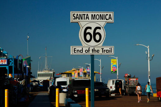 Route 66 sign, Los Angeles, End of Trail, road trip USA