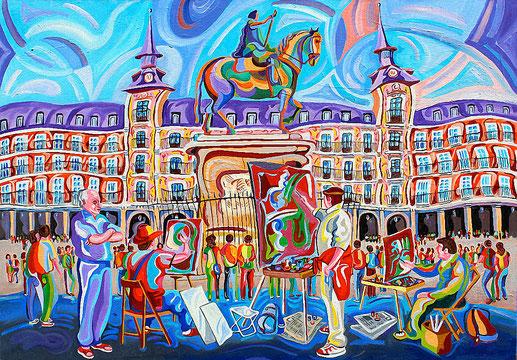 PLAZA MAYOR (MADRID).Huile sur toile. 81 x116 x 3,5 cm.