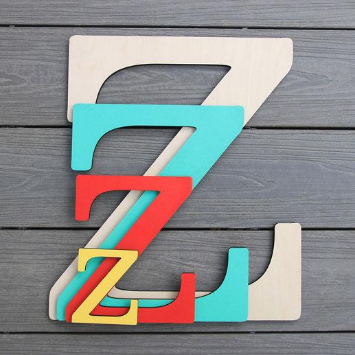 Holzbuchstaben und Dekobuchstaben aus Holz in verschiedenen Farben