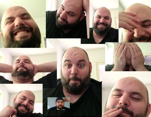 10 kleine Bilder mit lustigen Gesichtern des Dozenten von LEDERER_training live bei seinem ONLINE-Unterricht