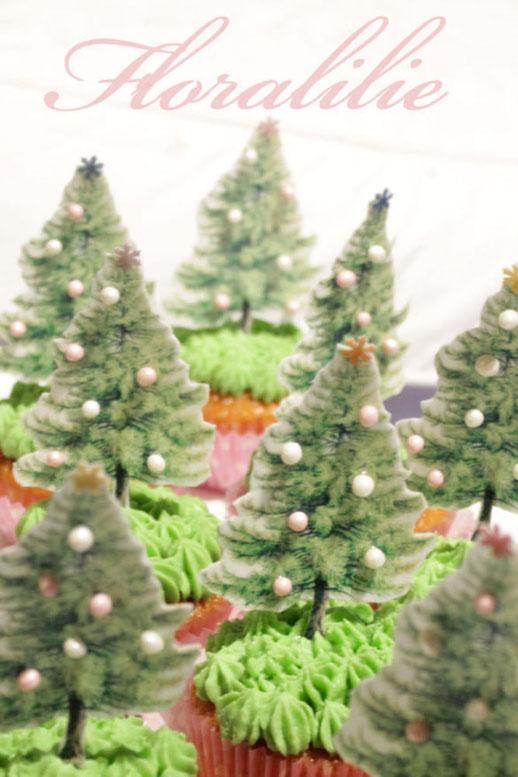 Weihnachtsbaum-Cupcakes | Floralilie Sugar Art