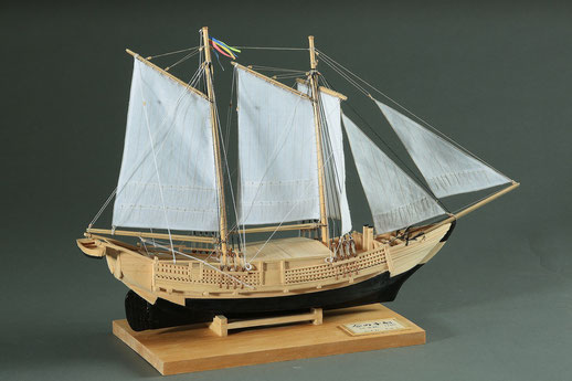 38-26 Ainoko Ship - hybrid ship, Japanese type hull and schooner type sails | Period:19th century Scale:1/60 Scratchbuilt | Takashi KASUMI