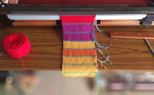 Passap D, kraus rechts Stricker, garter stitch machine