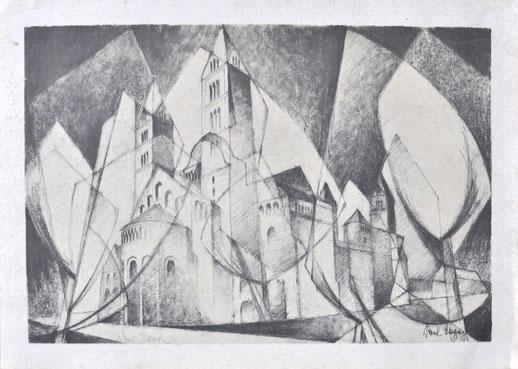 Paul Magar Bonner Münster Lithographie signiert