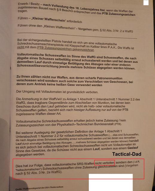 Gutachten der Polizei Niedersachsen, über die rechtliche Einstufung einer vollautomatischen Ekol Asi Schreckschusspistole.