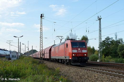 18. September 2014: 185 070-0 zieht einen schweren Ganzzug durch Leipzig-Thekla