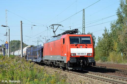 18. September 2014: 189 069-8 durchfährt mit Mischer Leipzig-Thekla