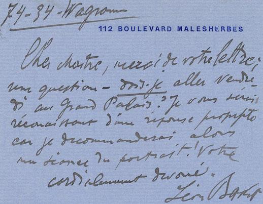 Léon Bakst carte autographe signé achat vente CD Galerie