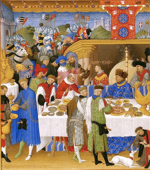Banquets, Les Très Riches Heures du duc de Berry, 1413-1416