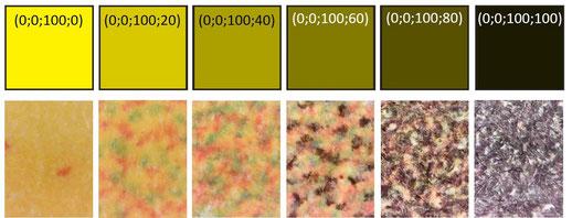 Observations au microscope d'impression jet d'encre (jaune avec différentes luminosités)