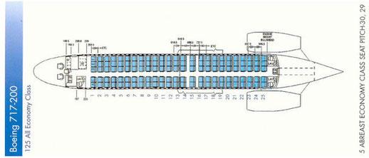 Sitzplan der Boeing 717 von Bangkok Air/Courtesy: Bangkok Air/Sammlung: Karl Seltenhammer: