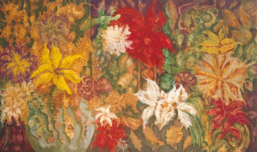 Tres estadios y una constante floración - 81 x 48,1 cm - óleo/Dmp Guillermo R Mingorance